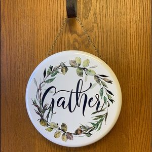 """""""Gather"""" metal sign with chain"""